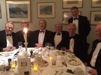 L to R: Anthony Westnedge OBE (1955-1962), Richard Blundell (1956-1963), Dr Richard Bateman (1967-1974), Major Patrick Marsland-Roberts (1953-1960), Leon Sacks (1962-1970), standing Professor Paul Wordsworth (1965-1970), David Goodwin (1955-1962)
