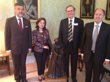 (l to r) The Bulgarian Ambassador and his wife; Dr Christopher Barnett; and Sir Gregory Winter