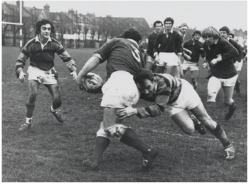 The trademark Bowthorpe tackle during a first XV match against Streatham and Croydon at Frant Road.