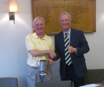 Hornsey Walker winner John Gould collects his trophy from Mike Berners Price (Captain) Cuddington 2013
