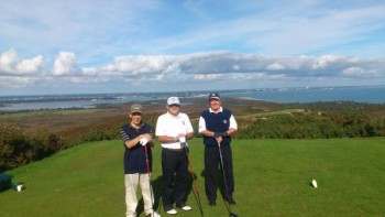 Messrs Hollidge, Mason and Kelley on Purbeck's 5th tee 2013