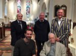Back row, left to right: Julian Kennedy-Cooke (staff 1953-89), Nigel Carter (1953-62), church warden, President, front row L-R Dudley Tredger (1997-99) and Rev Felix Boyse LVO (1930-35)